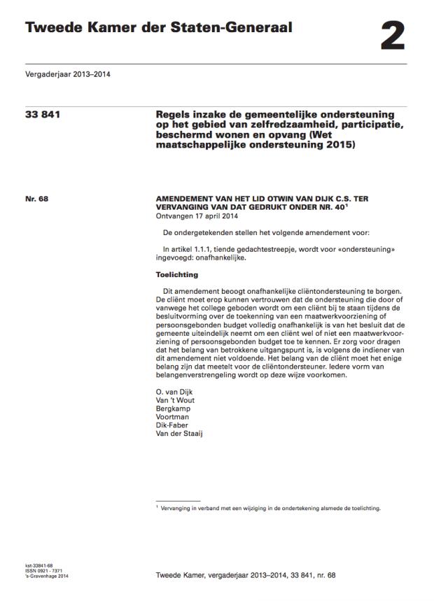 Amendement-Otwin van Dijk - 33841 nr 68 onafhankelijke clientondersteuning.png