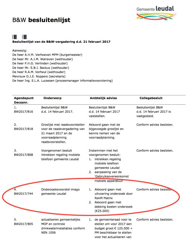 BW besluitenlijst Leudal 25000 euro imago onderzoek.png