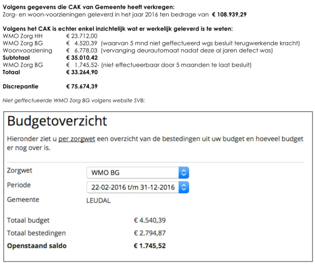 discrepantie wmo zorg gemeente leudal 75000 euro
