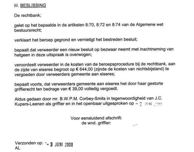 Gegrond beroep tegen afwijzing vervoersvoorziening (3 jun 2008)