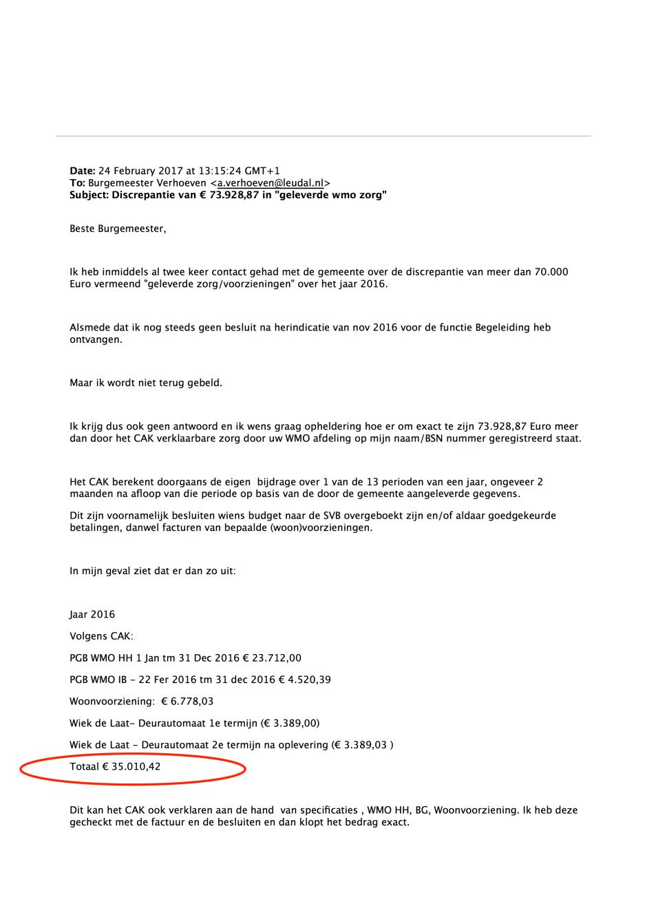 """Mail 24 feb 2017 -Pag 1 - Doofpot wmo Leudal Discrepantie van € 73.928,87 in """"geleverde wmo zorg"""""""