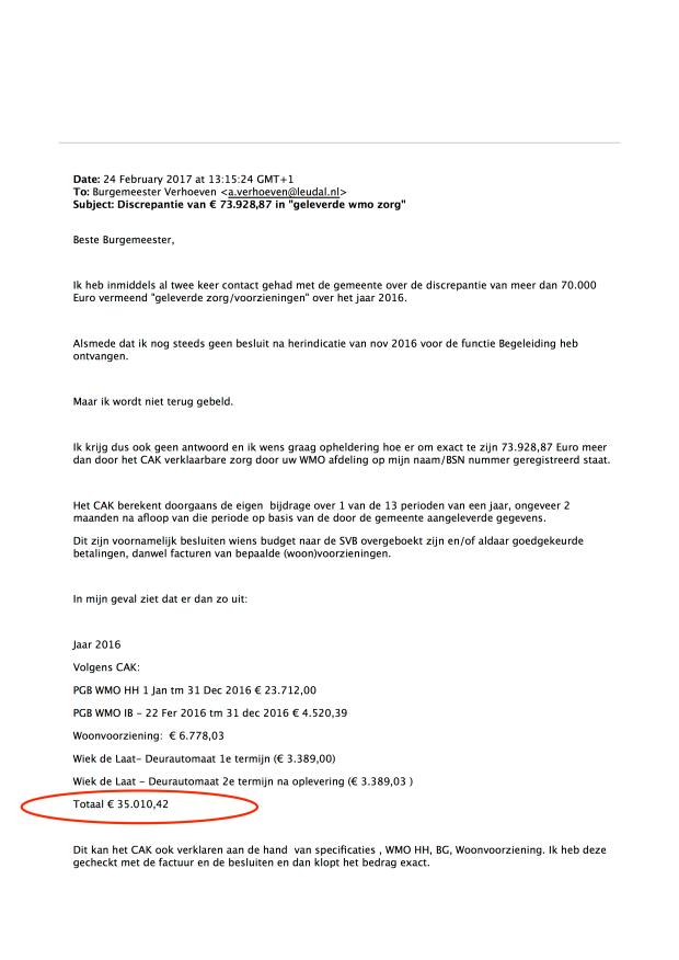 """Mail 24 feb 2017 -Pag 1 - Doofpot wmo Leudal Discrepantie van € 73.928,87 in """"geleverde wmo zorg"""" .png"""