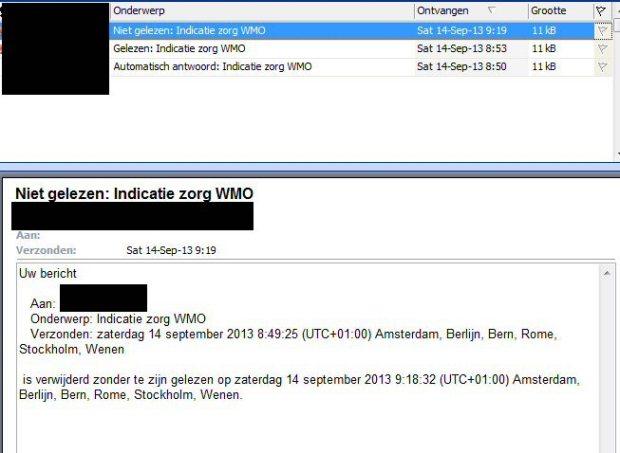 Mail aan Gemeente verwijderd zonder lezen 14 Sept 2013