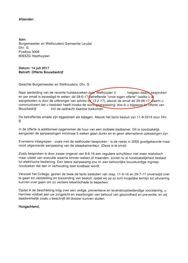 4- ANONYMOUS-Brief aan B en W Leudal inzake besluit toezeggingen wethouder 14 juli 2017