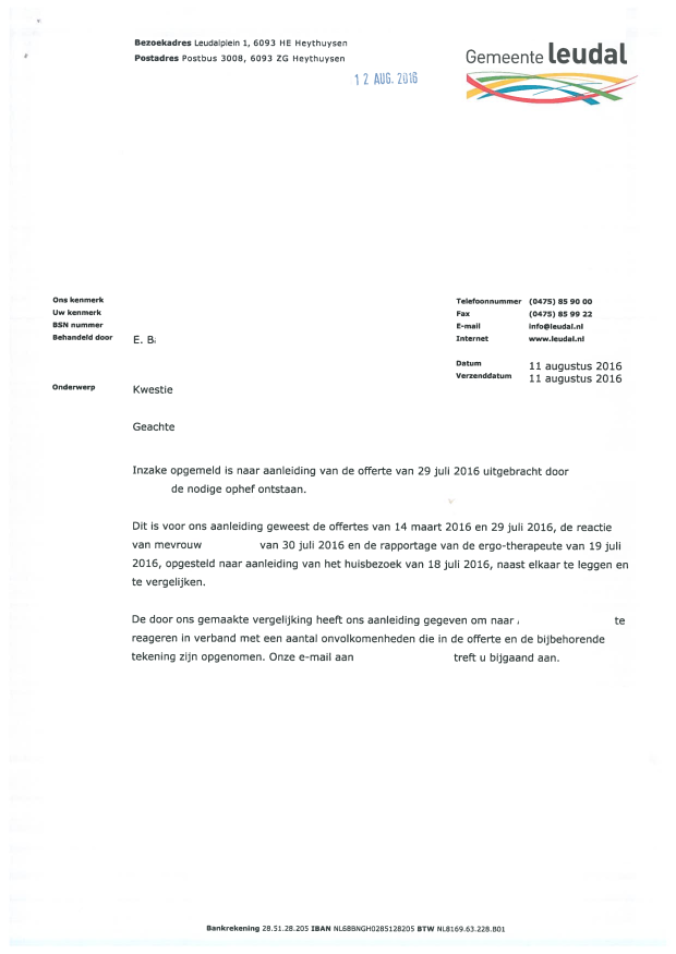 5-1 - Anonymous - Brief de facto besluit Gemeente Leudal (11 augustus 2016) copy