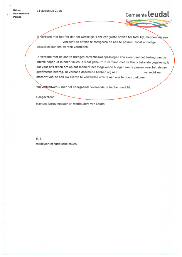 5-2 - Anonymous - Brief de facto besluit Gemeente Leudal (11 augustus 2016)