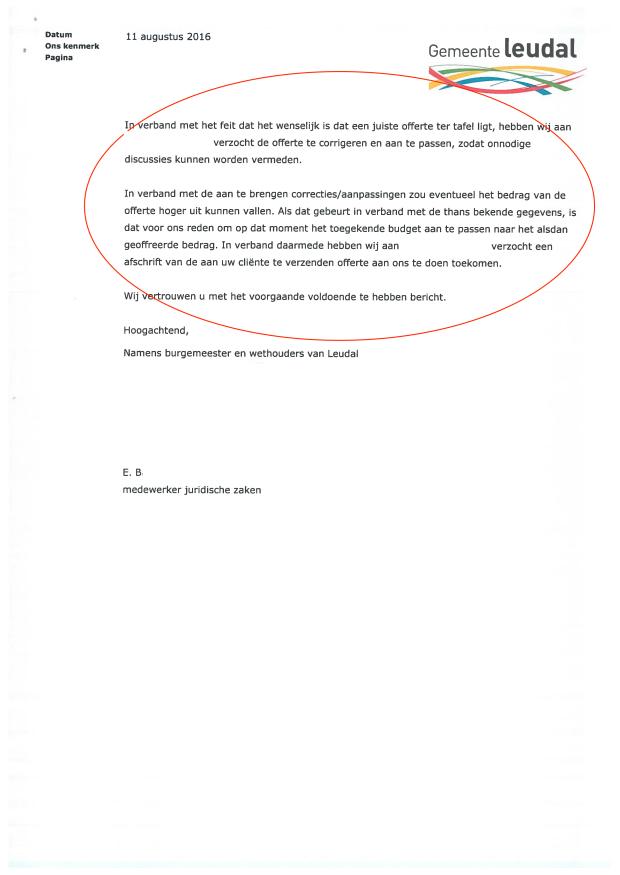 5-2 - Anonymous - Brief de facto besluit Gemeente Leudal (11 augustus 2016)