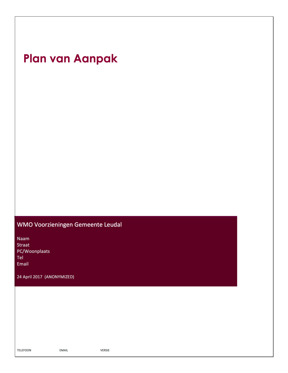 1 Plan van Aanpak 1 WMO Voorzieningen doofpotwmo ANONYMIZED