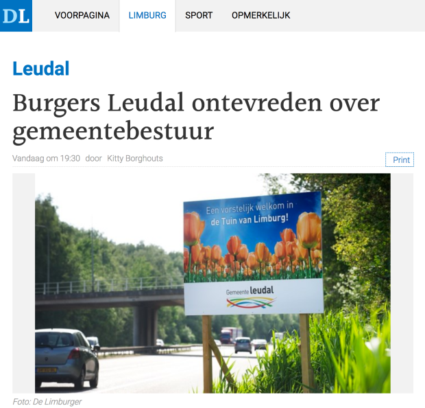 De Limburger Pagina 1 Burgers ontevreden over Leudal.png