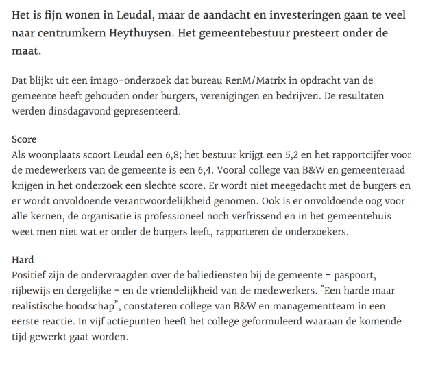 De Limburger Pagina 2 Burgers ontevreden over Leudal.png