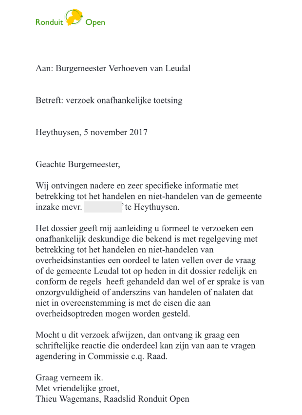 brief ronduitopen aan burgemeester 5 nov 2017