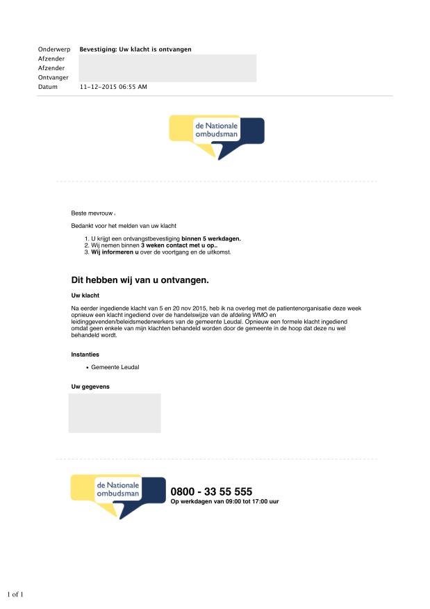 2- (11 Dec 2015) Bevestiging Uw klacht is ontvangen Doofpot WMO LEUDAL WEBLOG.png