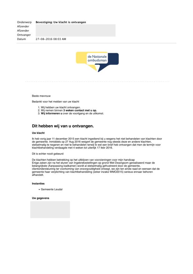 3- (27 aug 2016) Bevestiging Uw klacht is ontvangen - Doofpot WMO LEUDAL WEBLOG.png