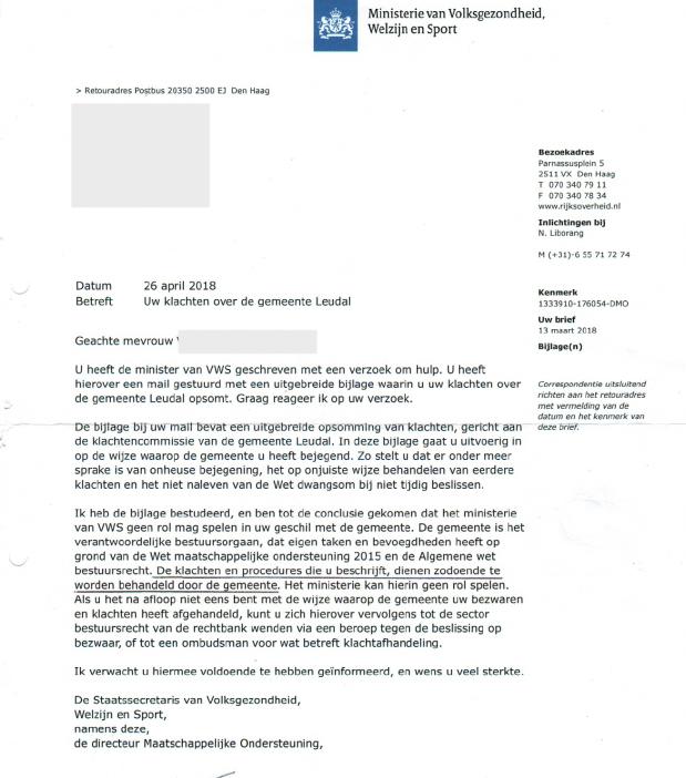 Brief MinVWS inzake klachten wmo gemeente leudal doofpot zorgwaakhond