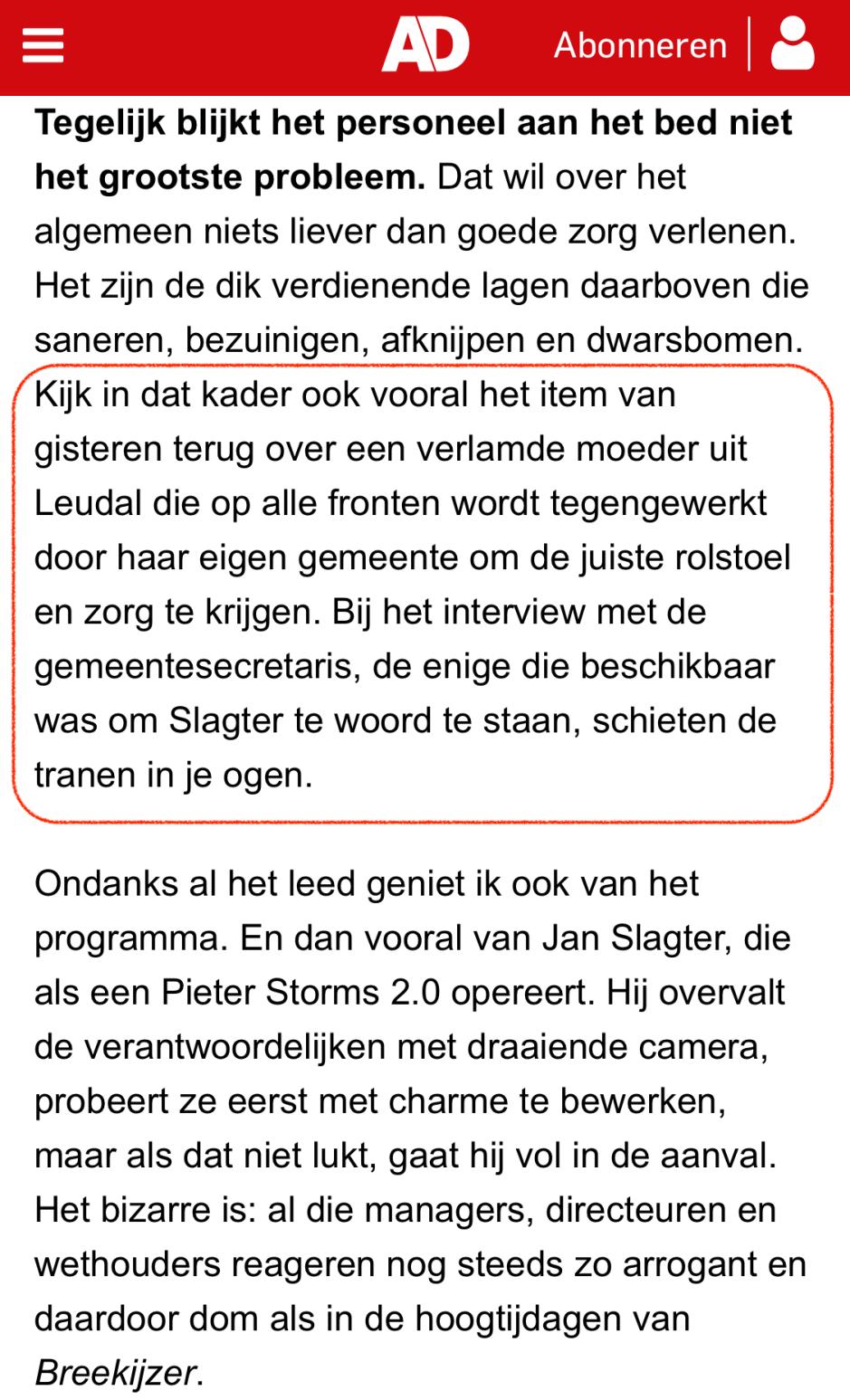 zorgwaakhond leudal justine Algemeen dagblad AD Jan Slagter 10 april2019.PNG